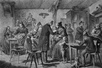 Детская иммунизация, историческая гравюра, 1869 г.