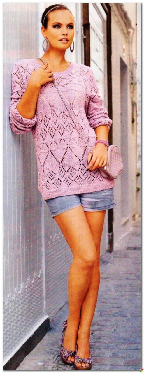 Красивый ажурный пуловер с м…