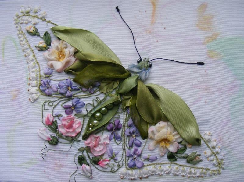 Вышивка шелковыми лентами —  учимся вышивать цветы и другие растительные элементы