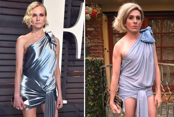 Актер воссоздает платья голливудских звезд из скотча, фольги и одноразовых тарелок