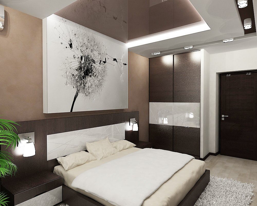светлые стены спальни в сочетании с темной мебелью