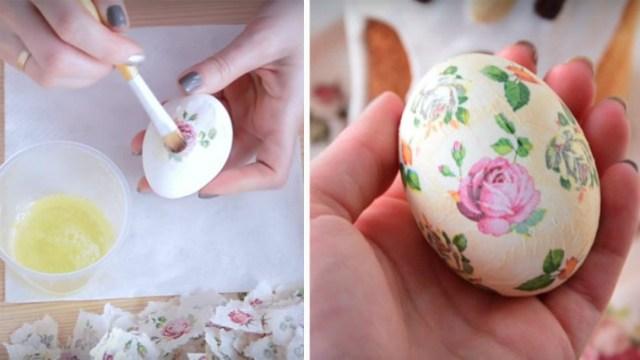 Украшаем яйца к Пасхе в технике декупаж