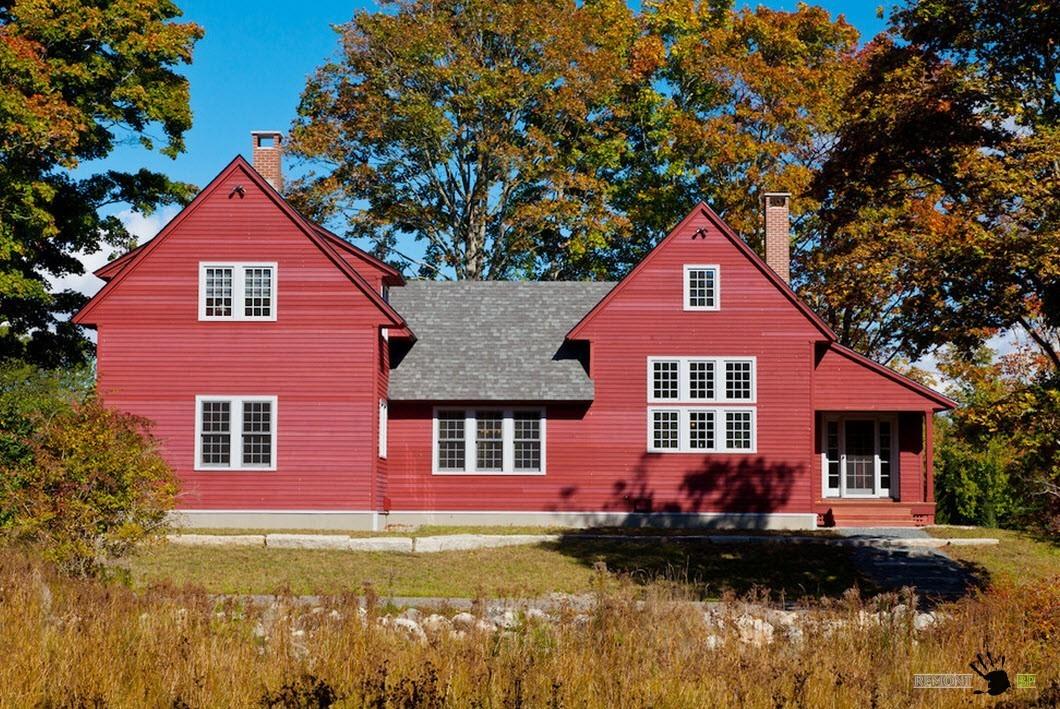 Красный частный дом