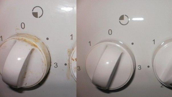 Как отчистить ручки у плиты...