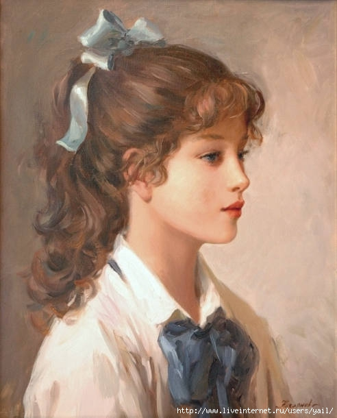 13-Young girl with blue ribbon A (492x610, 125Kb)