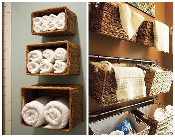 Повешенные или закрепленные корзины станут украшением ванной комнаты и организуют дополнительные места хранения.