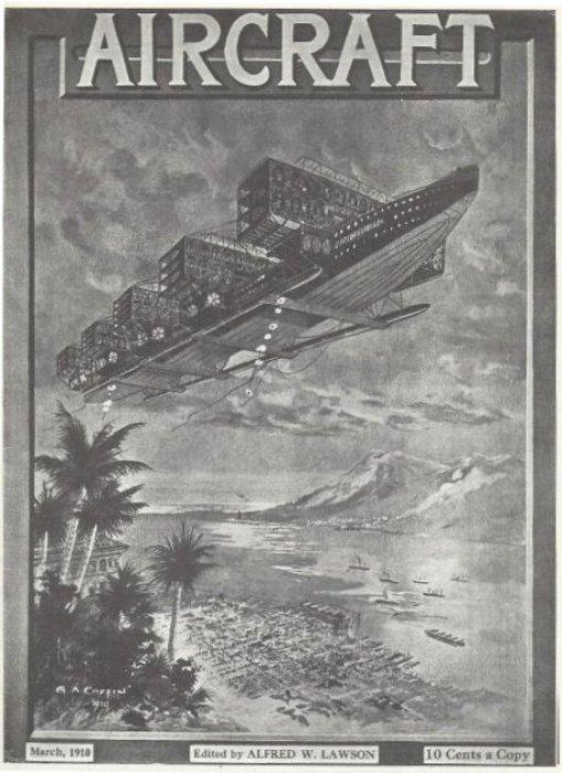 Именно так в 1910 году люди представляли себе авиалайнеры.   Фото: simanaitissays.com.