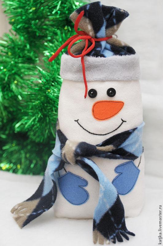 Новогодний снеговик - упаковка для подарка