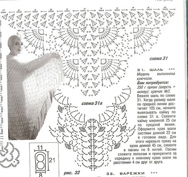 Схема серой шали крючком