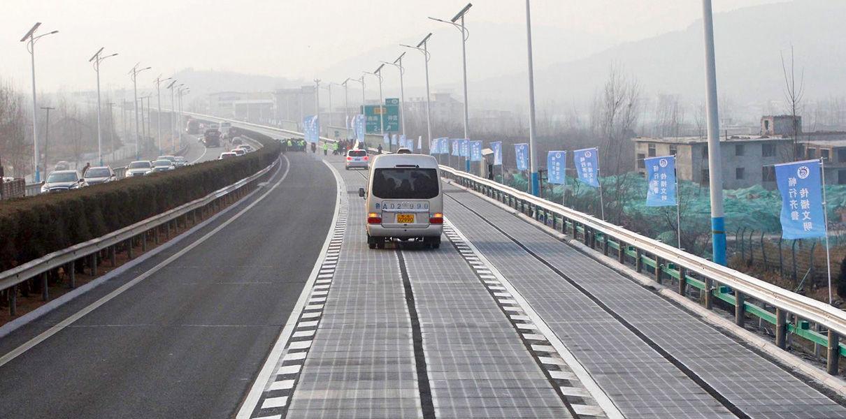 В Китае украли часть дороги из солнечных панелей