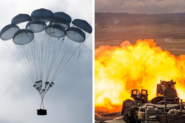 "Russia tanks drop out of the SKY as it practices NATO battle as Putin gears up for WW3. Британские СМИ испугались ""падающих с неба российских танков"""