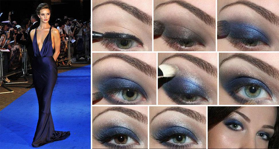 Макияж для темно синего платья фото