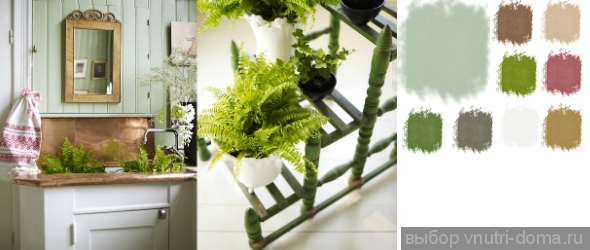Сочетание зеленых цветов в интерьере