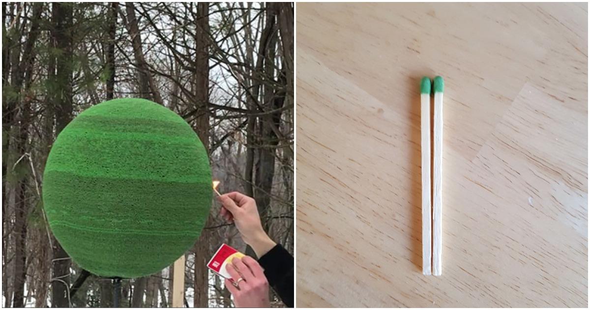 Парень год клеил шар из 42 000 спичек, чтобы в итоге поджечь его