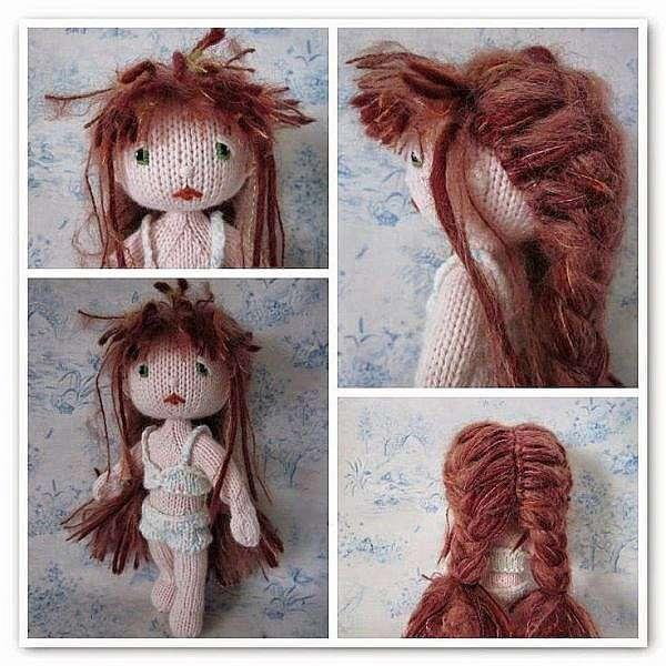 Как сделать волосы для вязаной куклы