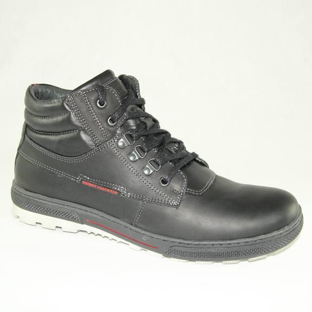 Зимние мужские чёрные ботинки из кожи
