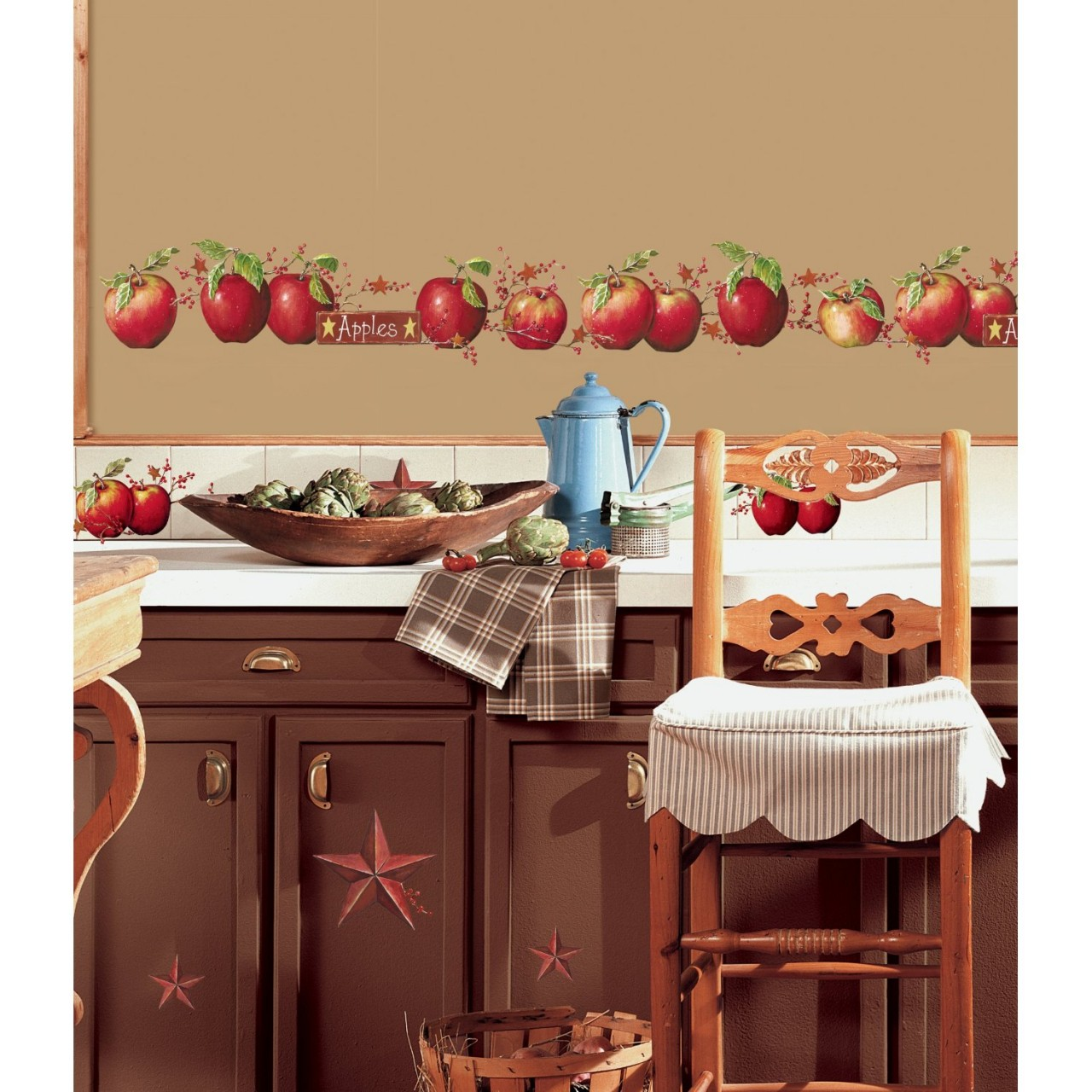 Country apple curtains