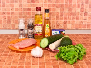 Салат с авокадо, куриным филе и фетой. Ингредиенты
