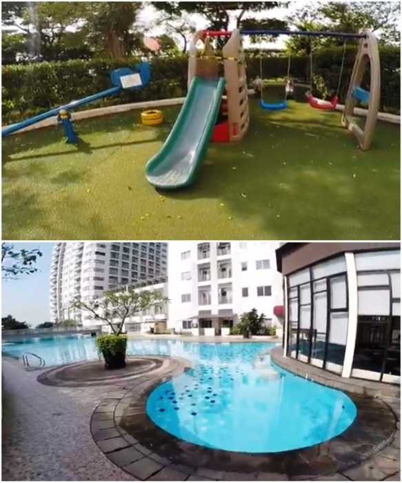 Детские площадки и огромный бассейн стали идеальным местом отдыха для семей, проживающих в деревне на крыше (Cosmo Park, Джакарта). | Фото: break.com.