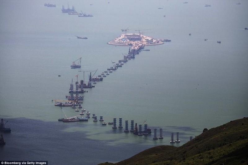 Длина моста через море составит 55 километров гонконг, длина, китай, море, мост, путь, рекорд, строительство