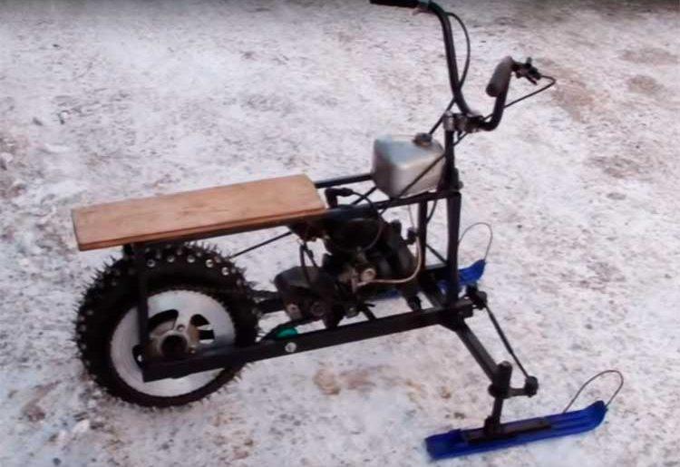"""Самодельный снегоход из бензопилы """"Дружба"""""""