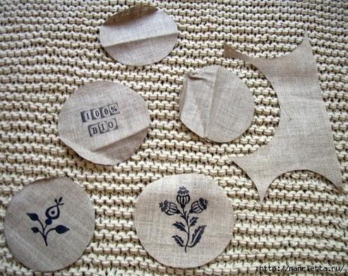 Идеи упаковки новогодних подарков. Шьем мешочки и украшаем их орешками (13) (493x391, 202Kb)