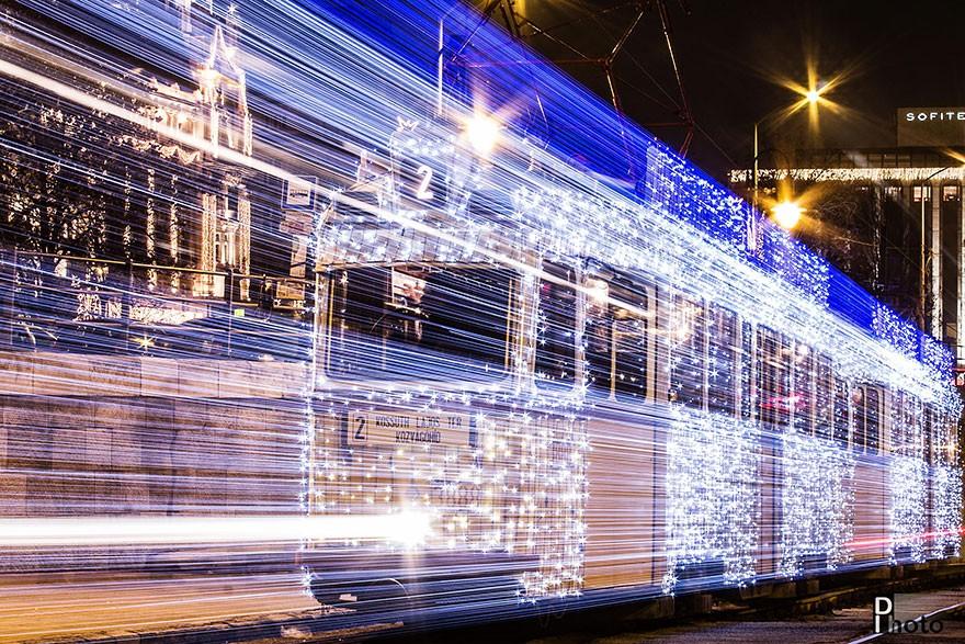 trams06 Чудесные светящиеся трамваи в ночном Будапеште