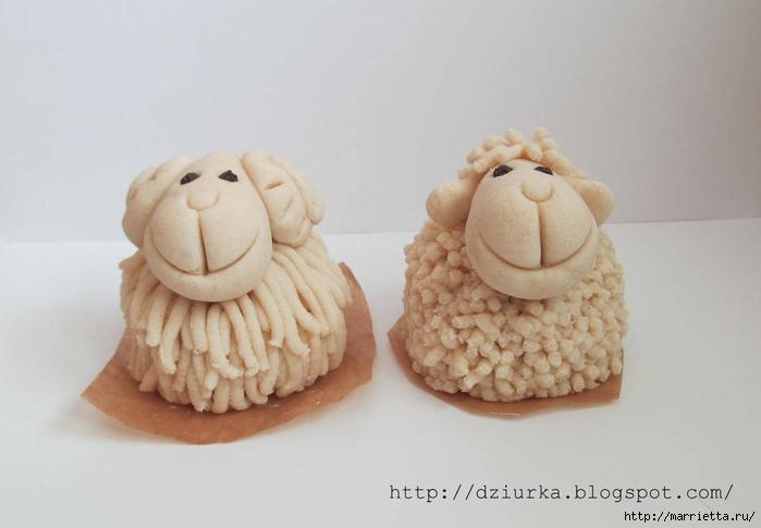 Как сделать овечку из соленого теста видео