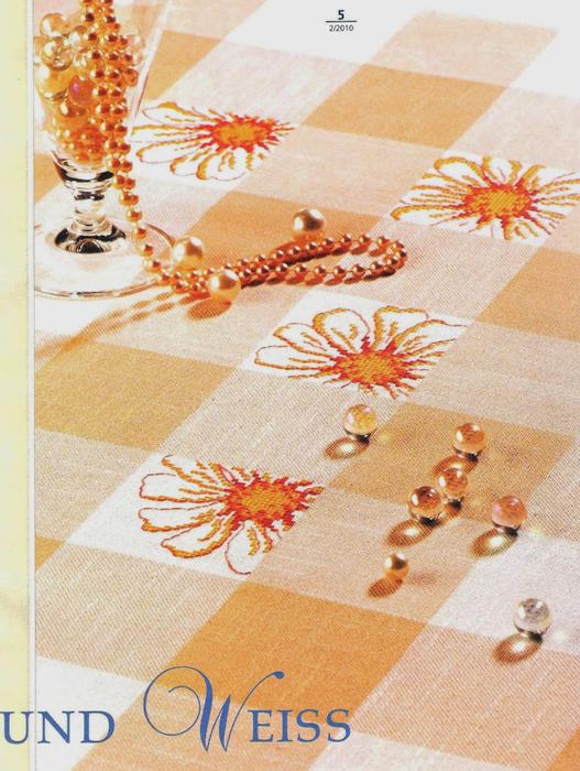 Цветочные идеи для вышивки скатерти в клеточку. Схемы