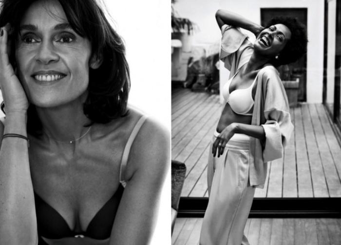 Очаровательные женщины в рекламе нижнего белья.