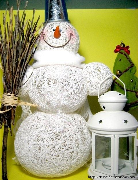 Нежные цветы, снеговик и декоративные шары из ниток. Мастер-классы (13) (480x623, 215Kb)