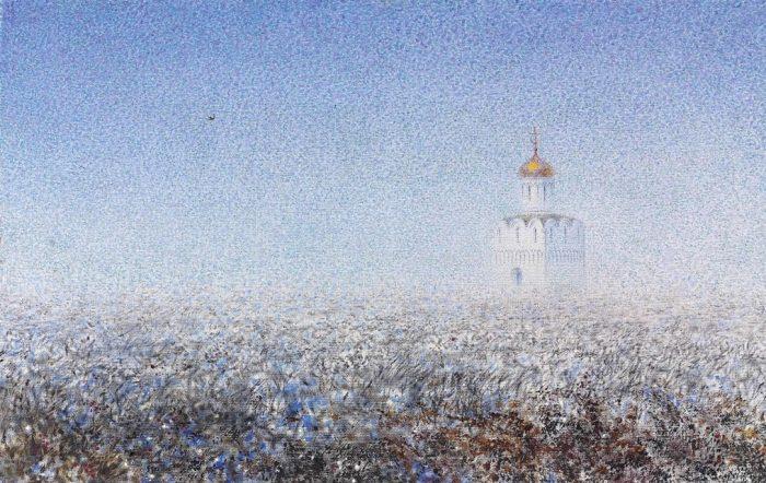 Художник Василий Ситников. Церковь в степи и Дунька-готтентотка