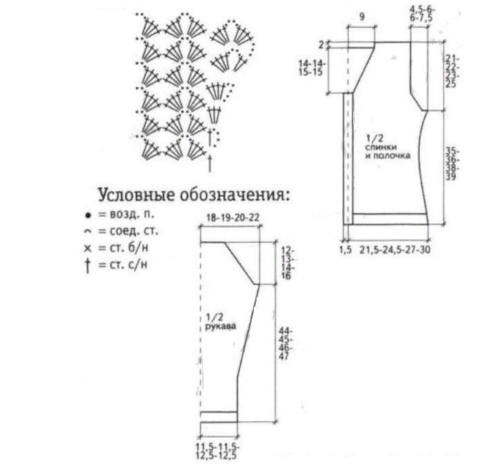 Схема к красивой блузке крючком для женщины в виде кофточки