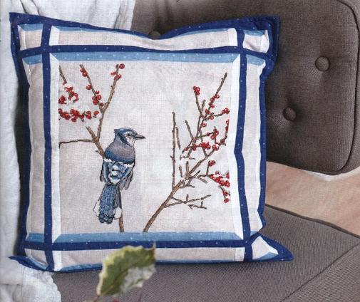 Схемы для вышивки крестом подушки «Зимнее утро»