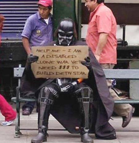 """""""Помогите мне, я инвалид войны клонов и мне нужны деньги на восстановление звезды смерти"""" бездомные, креатив, попрошайки"""