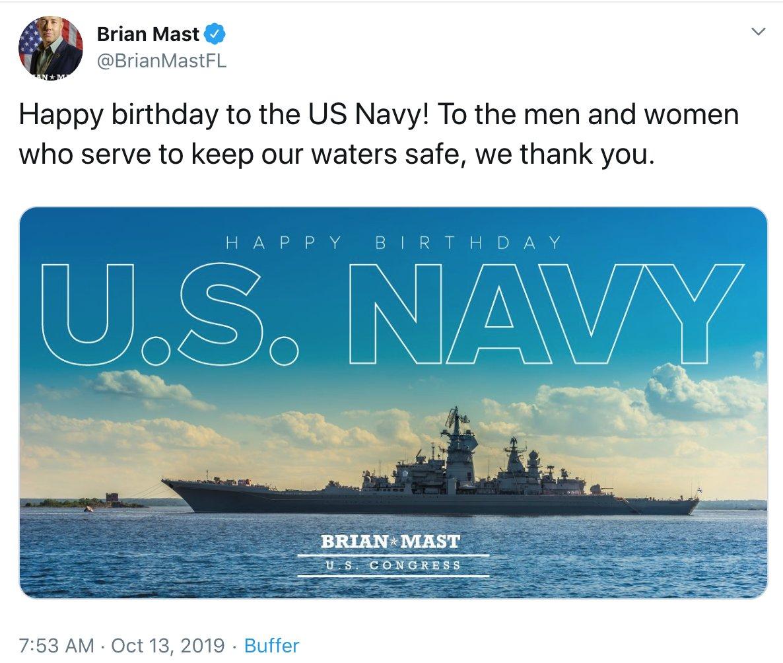Член конгресса поздравил ВМС США фотографией с российским кораблём