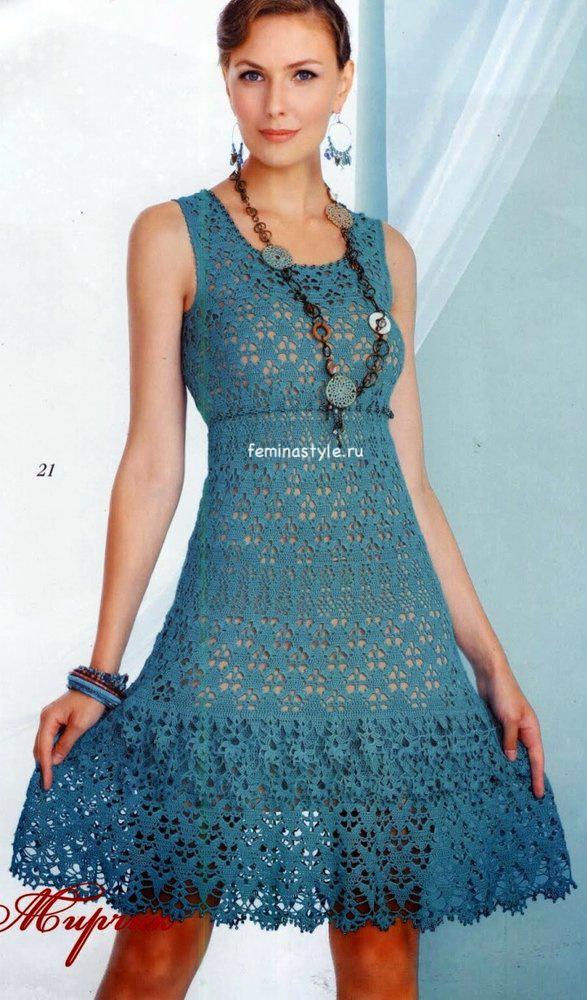 Вязание крючком платья в стиле ампир