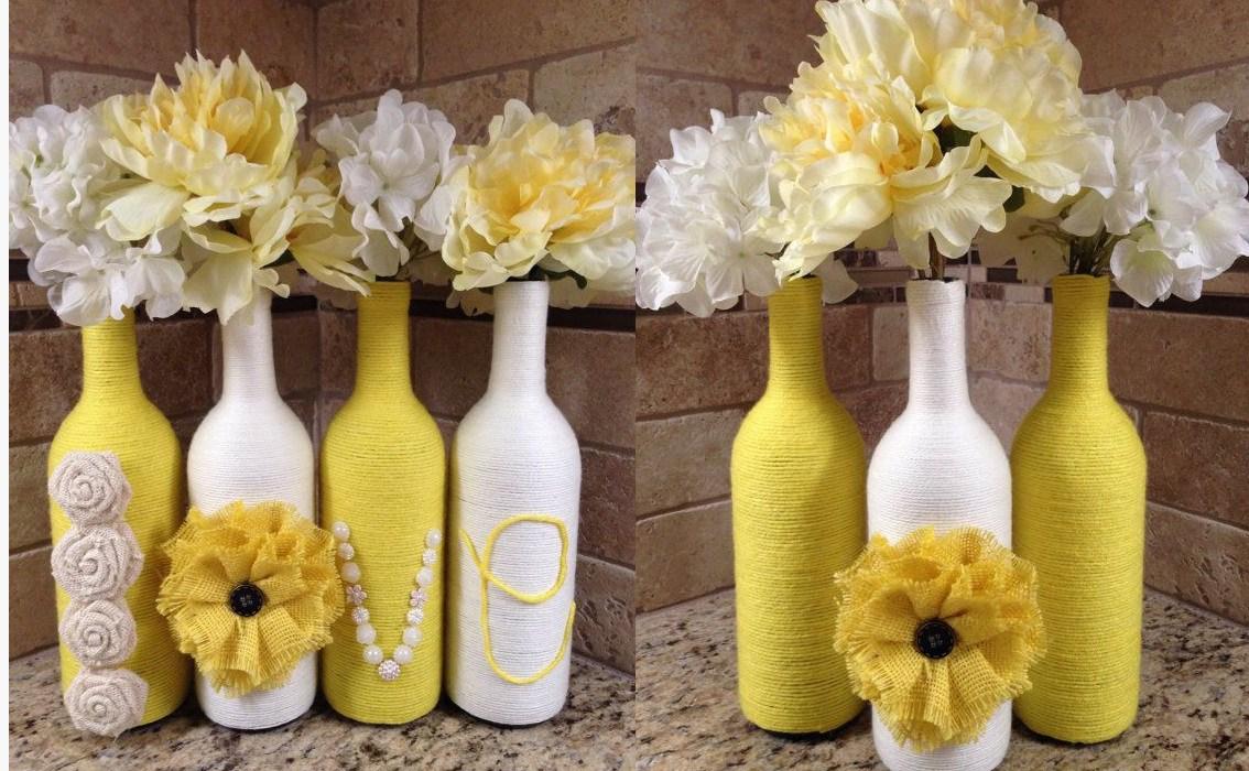 Бело-желтый декор бутылок