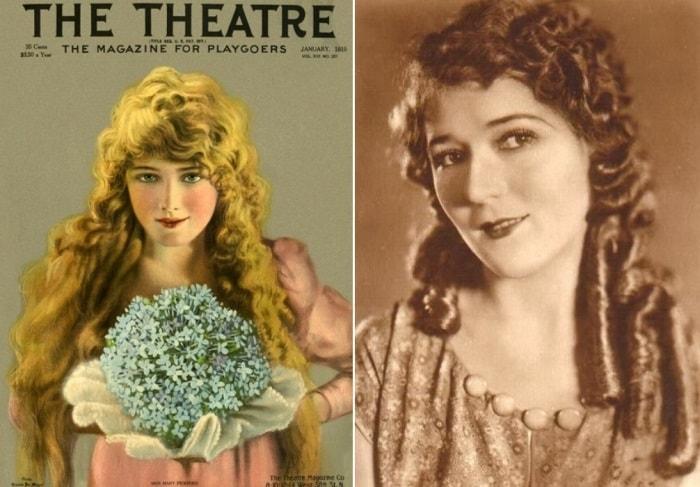 Мэри Пикфорд на обложке журнала *Театр* и на фото   Фото: april-knows.ru и kino-teatr.ru