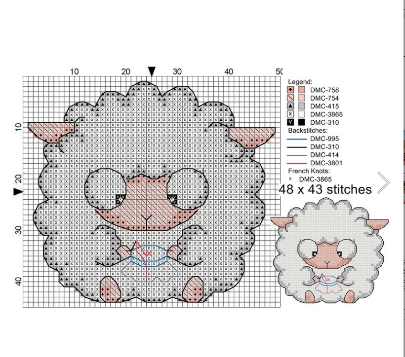 Схема вышивки овечки