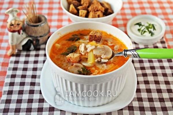 Суп куриный с шампиньонами