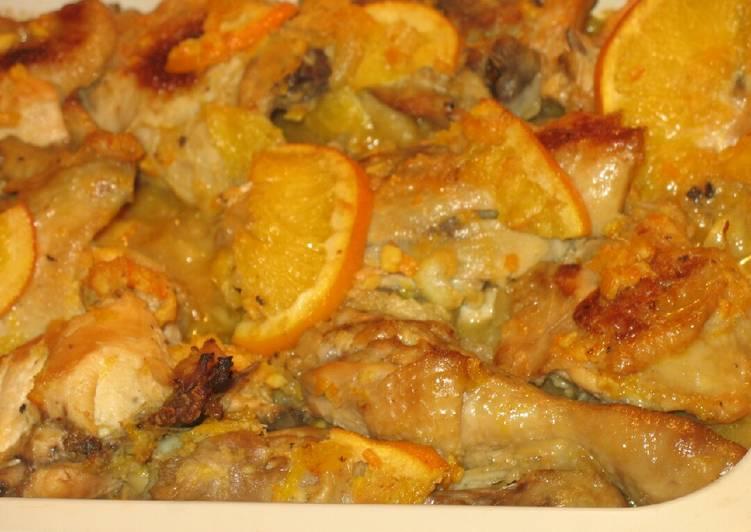 Курица с картошкой под апельсинами recipe main photo