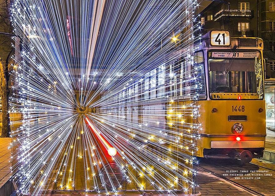 trams03 Чудесные светящиеся трамваи в ночном Будапеште