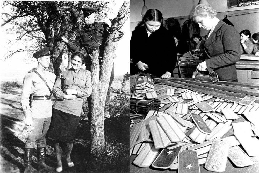 Приказ о новых знаках различия был подписан 6 января 1943 года. Но погон сразу на всех не хватило. / Работники швейной мастерской за изготовлением погон. Москва, 1943 год.