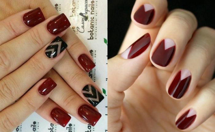 Цвет марсала на ногтях маникюр