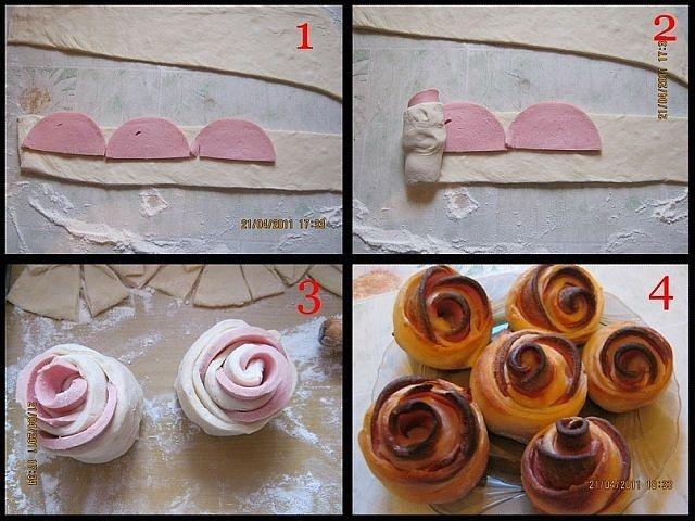 Как сделать булочку розу