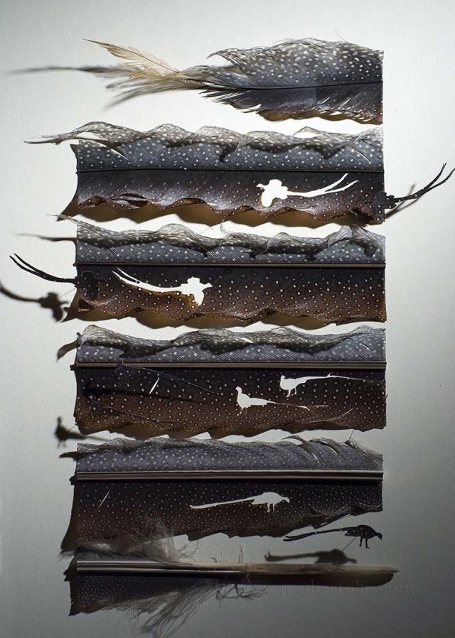 Превращая перья в птиц, художник Chris Maynard