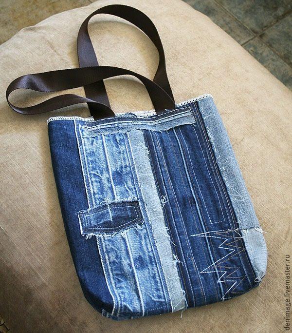 Сумка из джинсовых поясов