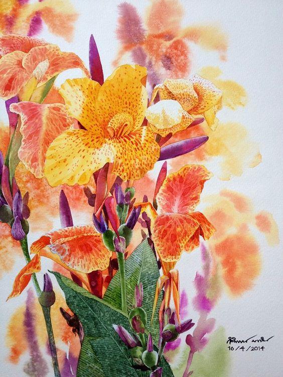 Цветы в акварелях таиландского художника Kitipong Maksin