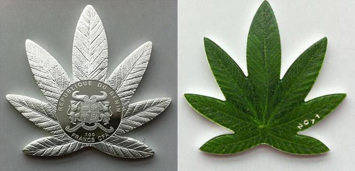 Монеты в форме конопли./Фото: coins.su